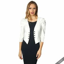 Womens Ladies Ruched 3 4 Sleeve Military Tailored Shrug Blazer Jacket Top Party