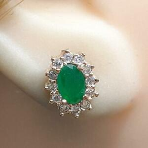 Deco 1.10ctw Emerald & Diamond Cut Sapphire 14K Yellow Gold 925 Silver Earrings