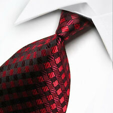 UK1085 Red Plaids Stripe 100%Silk Classic JACQUARD Woven Men Tie Necktie