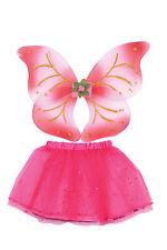 Pink White Fairy Wings & Tutu Fancy Dress Set Girls Costume Angel Dress