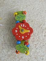 NUOVO Orologio giocattolo in legno quadrante rosso