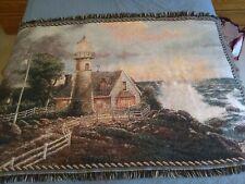 Thomas Kinkade Woven blanket Lighthouse On The Shore