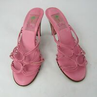 Lilly Pulitzer Size 6.5 Mules Sandals StrappyLeather  Knotted Pink Italy