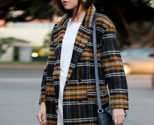 ZARA YELLOW BLUE WOOL CHECKED COAT SIZES S & M NEW TAGS
