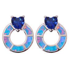 Jewelry Gemstone Stud Earrings Oh4264 Rainbow Fire Opal Sapphire Silver Women