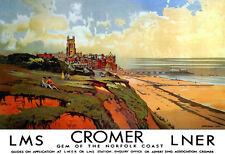 Art ad Cromer joya de la costa de Norfolk LMS LNER Tren Ferrocarril viajar cartel impresión