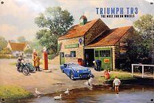 Triumph TR3 at garage small steel sign 200mm x 150mm (og)