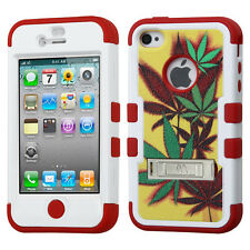 iPhone 4 4S Hybrid T Armor Case Skin Cover w/Metal Stand+Screen Protector