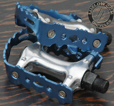 """Blue Alloy FiXiE Road Bike Pedals 9/16"""" Vintage Fixed Gear Track Cruiser Bicycle"""