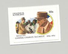 St Vincent (Grenadines) #806 DeGaulle 1v Imperf Proof on Card