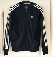 ADIDAS ORIGINALS Women's Navy Blue Logo Zip Up Hoodie Sweatshirt Size UK 12
