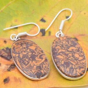 BROWN  ELEPHAND  SKIN JASPER Silver Plated  Gemstones Earrings BBB435
