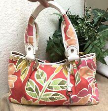 Fossil Modern Vintage Pink Floral Canvas Patent Leather Trim Handbag Bag Key VGC
