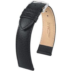 Hirsch Kansas Calf Leather Watch Strap Black Choice of Size