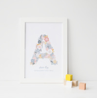 Personalised Birth Stats Print / Girls Christening Gift / Newborn Baby / Letter