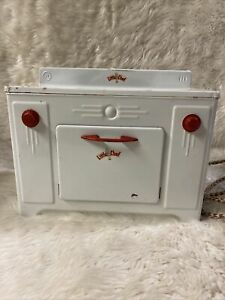 Vtg Little Chef Toy Stove Oven Range Metal Tin Toy 1950s Dolls Tacoma Works