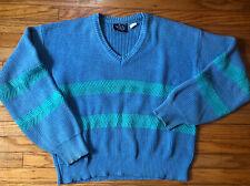 Vintage 80s Woolrich V Neck Blue/aqua Green Striped Sweater- Womens Medium