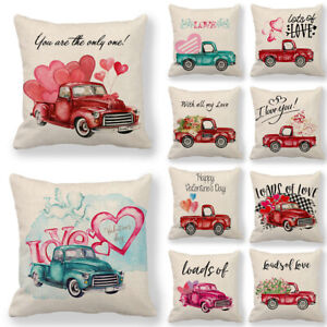 Lover Couple Valentine's Day Gift Truck Flower Heart Pillow Covers Cushion Cases