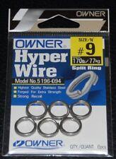 Owner 5196-094 Black Chrome Split Rings - Size 9 - 170lb Test Pack of 6