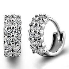 AU_ Women's Double Rows Clear Cubic Zirconia Hoop Huggie Earrings Jewelry Health