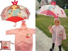 Princess Print Pop-Up Umbrella and Raincoat Set - RainStoppers Children Kid Girl