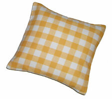 Home & Garden or Campervan & Car Yellow Gingham Scatter Cushion Covers x 2 NEW
