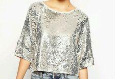 Sequin Scoop Neck Party Regular Size Tops & Shirts for Women