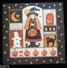 Leanin Tree Halloween Greeting Card Witch Broom Pumpkin Cat Multi Color HW18