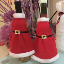 Christmas Bottle Cover Santa Claus Skirt Apron Wine Table Home Party Decor YD