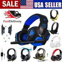 PRO Wired/less Game Headset Headphones Mic LED 40mm Hi-Fi for PC/PS 4/X BOX ONE~