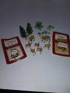 Lot of Vintage Miniature Plastic Deer Trees Christmas Decorations