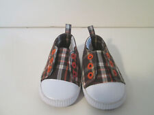 Brown and Orange Plaid Sneaker Baby Shoes Size 03 Slip On