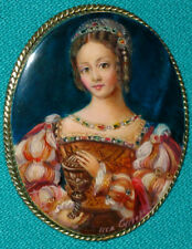 """""""Marie Magdalene With A Vessel"""" Russian Hand Painted Fedoskino MOP BROOCH"""