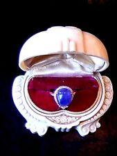 ❤ ESTATE wow BLUE VIOLET TANZANITE 14x10mm WHITE SAPHIRE 925 SS ROSE GOLD RING 8