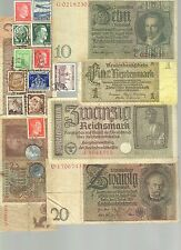 NAZI BANKNOTE, PHOTO DOCUMENT, COIN AND STAMP SET  # 100