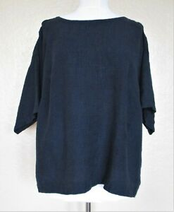 Eileen Fisher Woman Top Size 1X dark blue black organic linen waffle texture