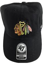 "NWT NHL Chicago Blackhawks M Black Franchise ""Perfect Fit"" Hat Cap by '47 Brand"