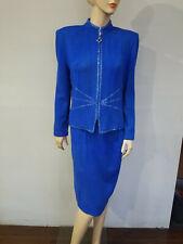 ST JOHN Evening By Marie Gray Size 12 Blue Blazer Jacket Skirt Suit Santana Knit