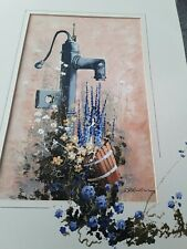 Original John Horsewell Oil Painting Floral Garden Water Pump Unusual