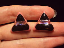 pink black clear purple teal triangle shaped dichroic fused glass stud earrings