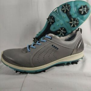 Ecco Womens golf Biom G2 40-9 golf Cleats, Dove gray with Sky blue