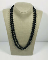 Long Vintage Necklace Black Faceted Beads French Jet Flapper Style Elegant