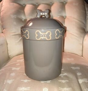 Dog Treat Canister - Biscuit Bone Stoneware Jar - Petrageous Designs