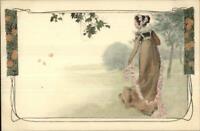 repro vintage postcard PEACOCK FEATHER PRINCESS woman Pleiades Press p154 NOS