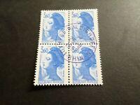 FRANCE BLOC timbres 2485 LIBERTE' DELACROIX, oblitéré 1987 cachet rond, QUARTINA