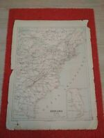 Antique map east coast of the USA, French edition of the 19th century.