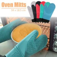 Silicone Oven Mitts Extra Long Heat Resistant Cooking Gloves Kitchen Baking BBQ