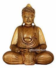 "8"" Hand Carved Wooden Serene Meditating Buddha Art Statue Sculpture Home Decor"
