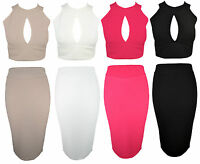 Womens Boutique Two Piece Set Crop Top and Bodycon Skirt Party Dress Celeb 8-14