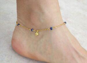 Handmade Gold Heart Anklet & Lapis Lazuli Beads, Delicate Ankle Bracelet